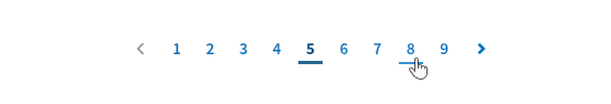 showing pagination with the active page underlined and arrows to move between pages
