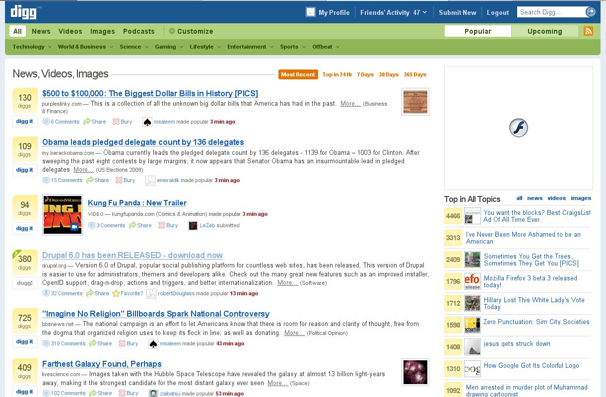 drupal 6 release hit digg front page (old news, sharing ...