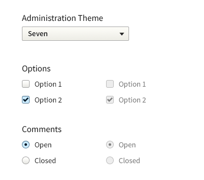 showing select box with slightly rounded corners, checkbox and radio options with blue background