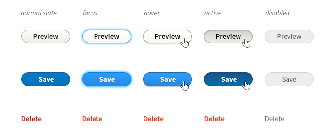 buttons with fully rounded corners, showing the different states from normal, focus, hover, to active - using Drupal blue