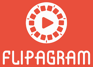 Flipagram's logo, a film reel with a click-to-play button.