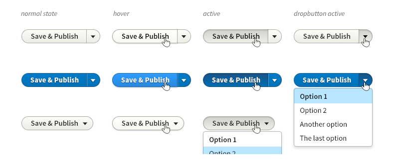 showing buttons who are merged with dropdowns for save states (e.g. save as draft)