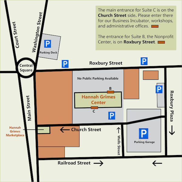 Map with indicators for the meetup location and parking.