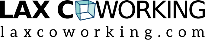 LAX Coworking logo with a stylized 3D box in place of an O in the word coworking