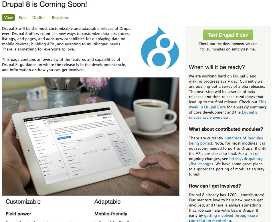 New Drupal 8 landing page