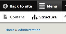When on an admin page, a 'Back to site' link appears in the top left portion of the toolbar.