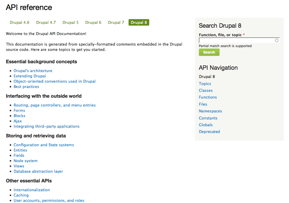 Freshly organized, topic-based approach to introducing Drupal's APIs