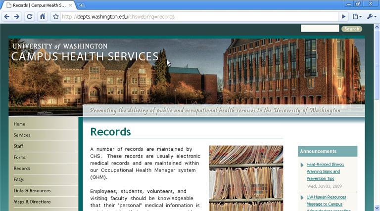 Zen subtheme used for University of Washington website