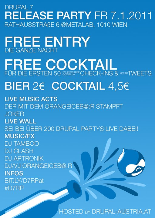 Drupal 7 release party vienna flyer