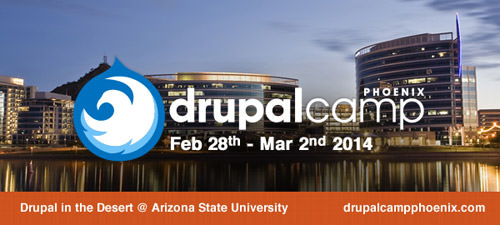 Drupal Camp Phoenix logo over Tempe city scape