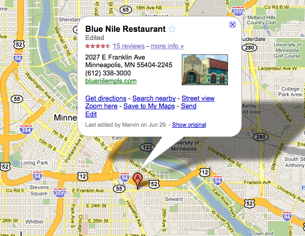 Google Maps map of Blue Nile Restaurant