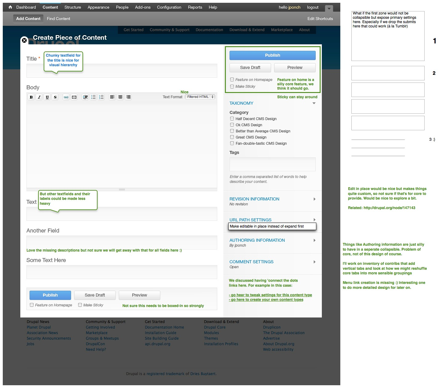 Design iterations for the content creation page   Drupal Groups