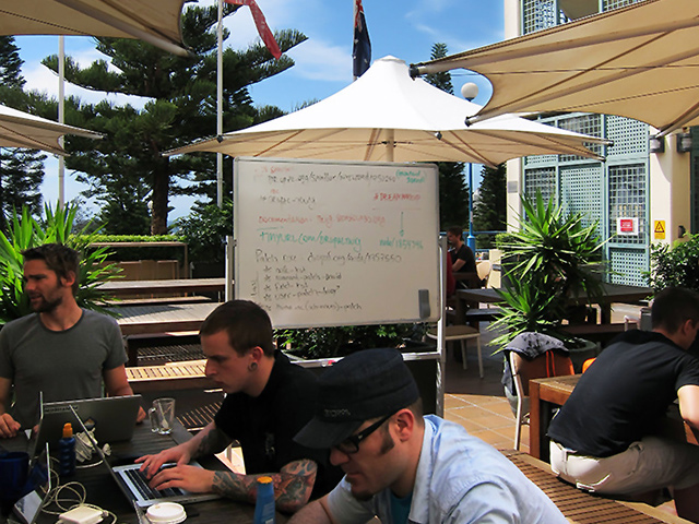 Twig sprint at DrupalCon Sydney on the patio with a whiteboard